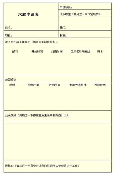 内部人员求职申请表 招聘与面试图片